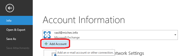 How to add a shared mailbox as additional account in Outlook 2016