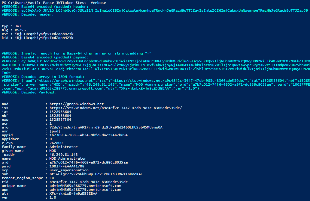 Decode JWT access and id tokens via PowerShell | Blog