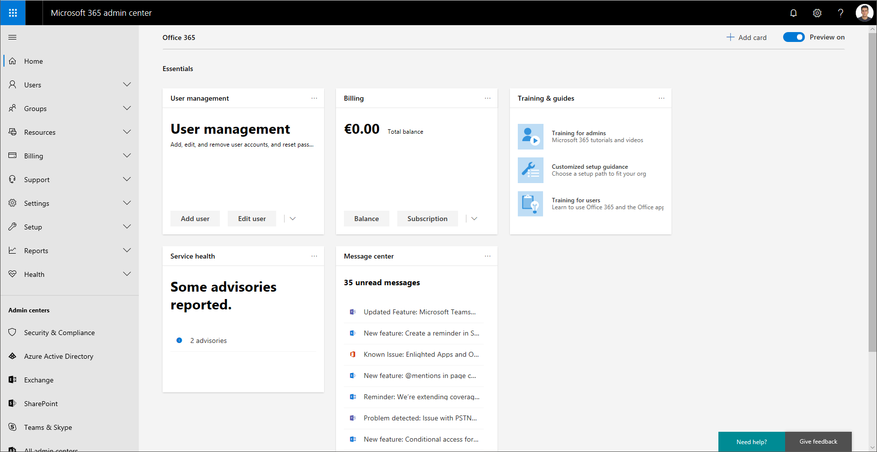 The new Microsoft 365 Admin Center is in Preview – a quick