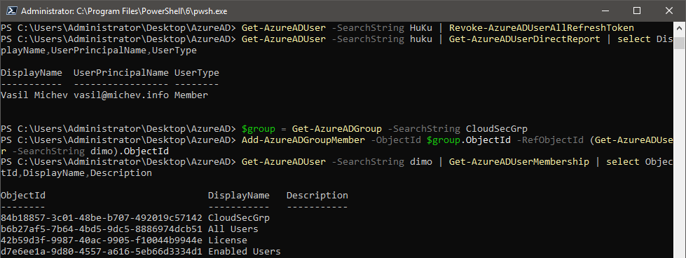 Azure AD PowerShell module with support for PowerShell Core
