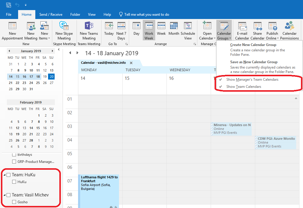 Microsoft removes the Team's and Manager's Calendar Groups