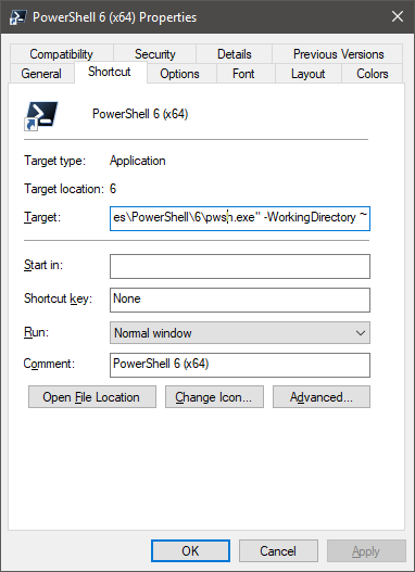 PowerShell Core and setting a working directory via profile