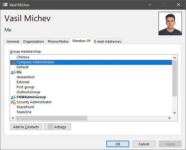 Outlook Contact Card not displaying Group membership | Blog