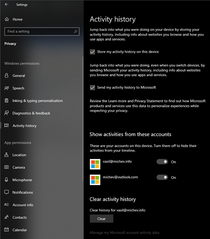 How Microsoft stores Windows Activity history and Cloud
